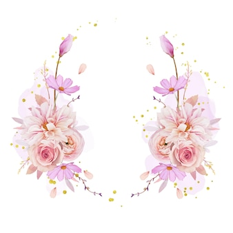 Belle Couronne Florale Avec Aquarelle Rose Dahlia Et Fleur De Renoncule Vecteur gratuit