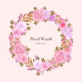 Belle couronne florale aquarelle avec des roses roses pastel