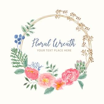 Belle couronne florale aquarelle
