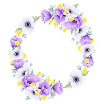 Belle couronne florale avec eucalyptus, pavot, anémone et fleur de craspedia
