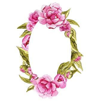 Belle couronne florale ovale aquarelle avec pivoines