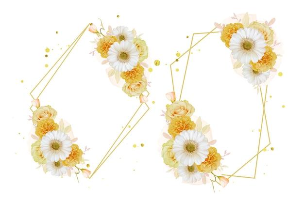Belle couronne florale avec rose jaune aquarelle et fleur de gerbera blanche