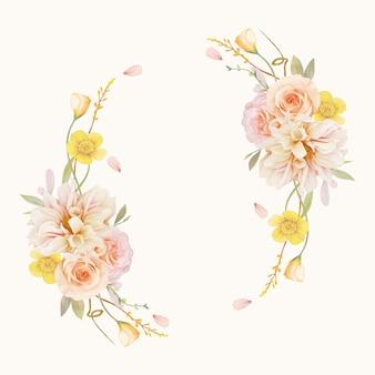 Belle couronne florale avec des roses aquarelles et dahlia