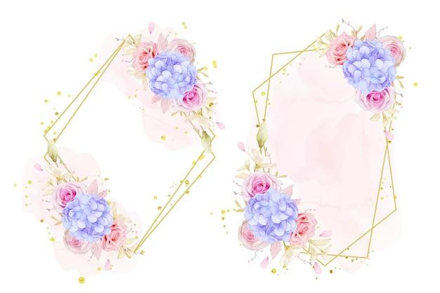 Belle couronne florale avec des roses aquarelles et fleur d'hortensia bleu