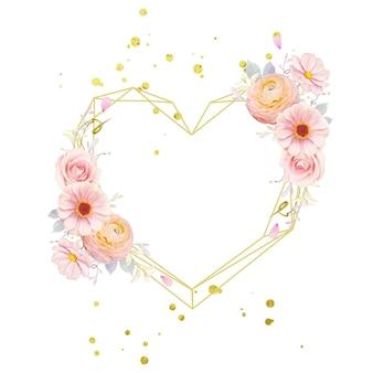 Belle couronne florale avec des roses roses aquarelles et fleur de renoncule