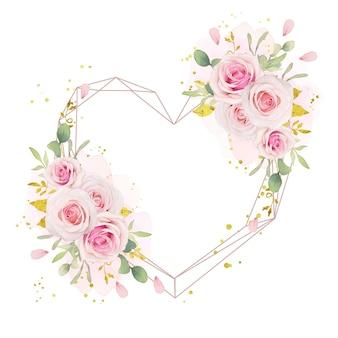 Belle couronne florale avec des roses roses aquarelles et ornement en or