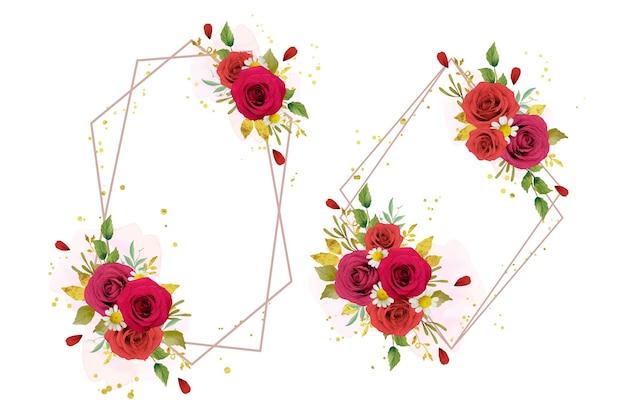 Belle couronne florale avec des roses rouges aquarelles