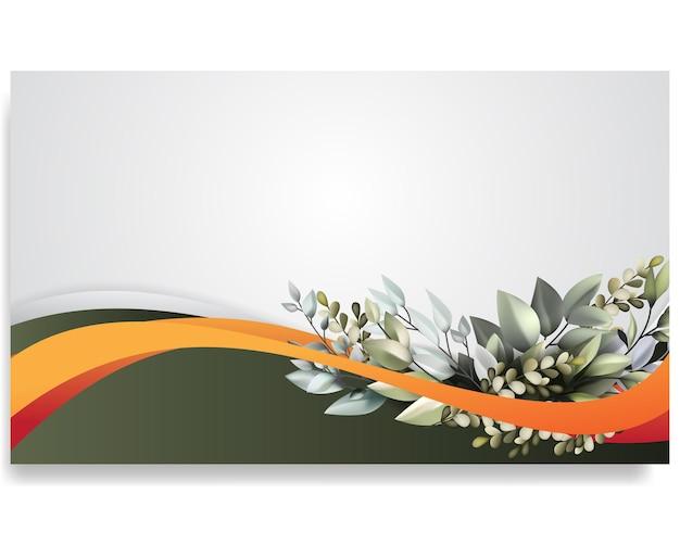 Belle couverture de carte de mariage avec ornement courbe