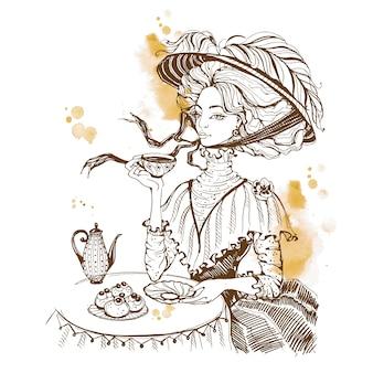 Belle dame vintage. goûter. fille au chapeau buvant du thé.