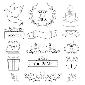 Belle de dessinés à la main pour la collection d'éléments de mariage
