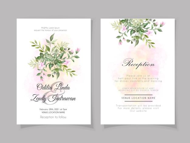 Belle et élégante carte d'invitation de mariage floral