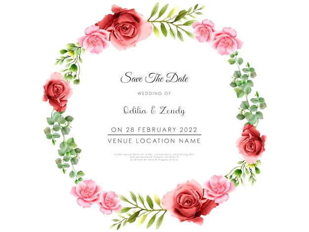 Belle et élégante fleur et feuilles cartes d'invitation de mariage aquarelle