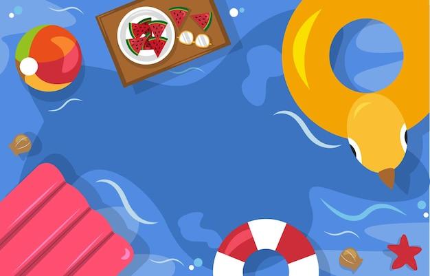 Belle été plage mer piscine vacances vue dessus fond illustration