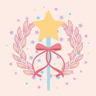 Belle étoile de baguette magique avec ruban