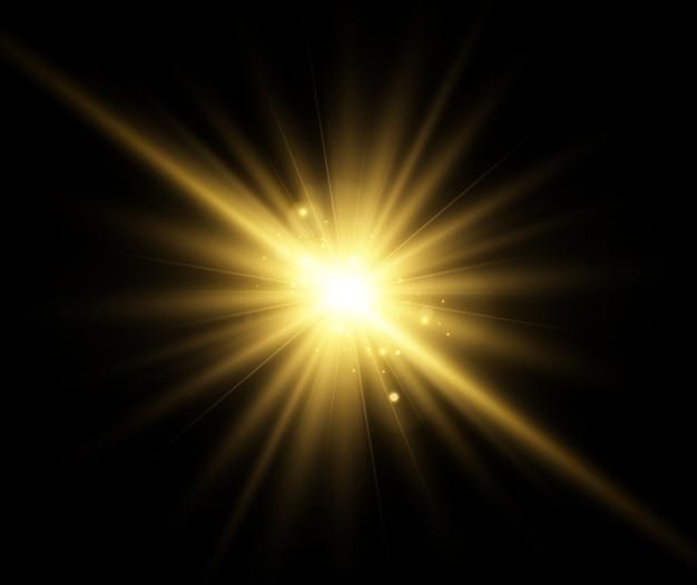 Belle étoile brillante. illustration d'un effet de lumière sur un fond transparent.