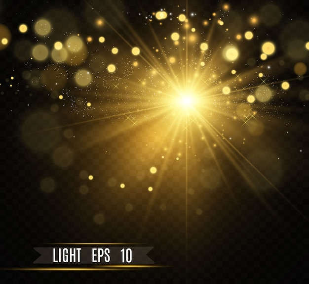 Belle étoile dorée sur fond translucide avec de la poussière d'or et des paillettes. une magnifique base lumineuse pour votre conception.