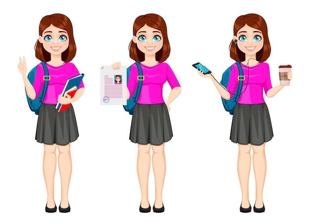 Belle étudiante, ensemble de trois poses