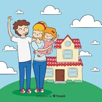 Belle famille dessiné à la main à la maison