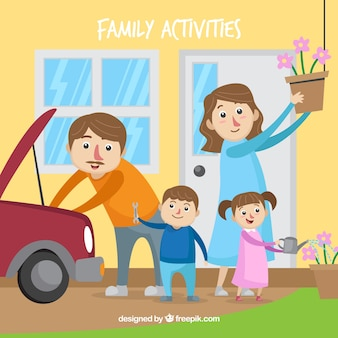 Belle famille faisant des activités différentes à la maison