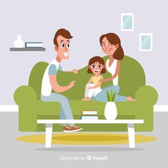 Belle famille à la maison avec un design plat