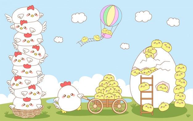 Belle famille de poulet heureux