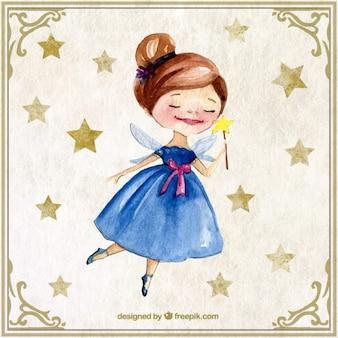 Belle fée d'aquarelle avec des étoiles