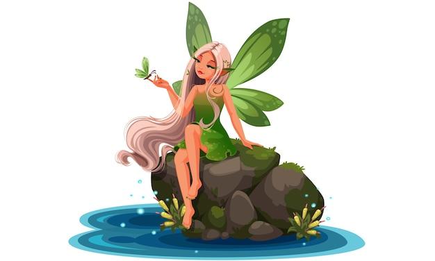Belle fée de la nature assise sur une pierre de la rivière