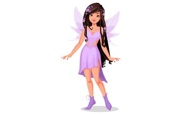 Belle fée en robe violette