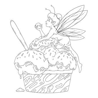 Belle fée se trouve sur des boules de crème glacée. décrire l'art en noir et blanc. art culinaire, concept rafraîchissant d'été, bonbons froids saisonniers traditionnels. coloriage. illustration de conte de fées.