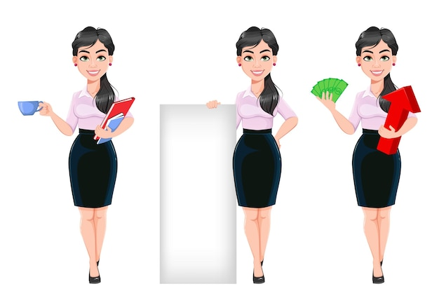 Belle femme d'affaires réussie ensemble de trois poses