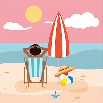 Belle femme afro portant un maillot de bain assis dans une chaise de plage