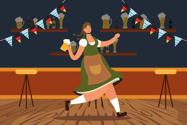 Belle femme allemande, boire de la bière dans la conception d'illustration vectorielle de caractère bar