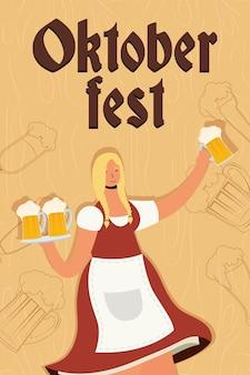Belle femme allemande buvant des bières caractère vector illustration design