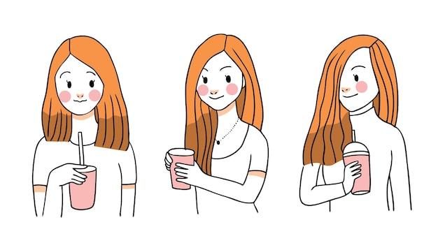 Belle femme boit du café, main dessiner dessin animé mignon.