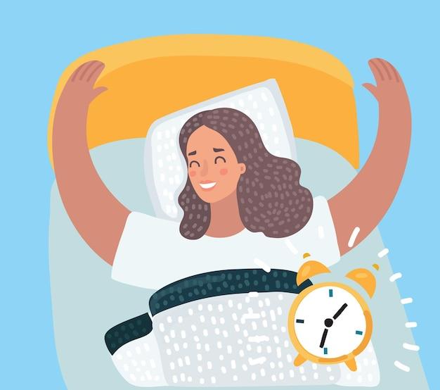 Belle femme brune heureuse de se réveiller le nouveau jour ensoleillé