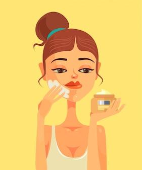Belle femme caractère frottis crème pour le visage