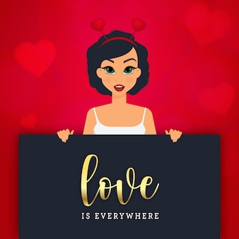 Belle femme avec carte de voeux saint valentin sur fond rouge avec des coeurs