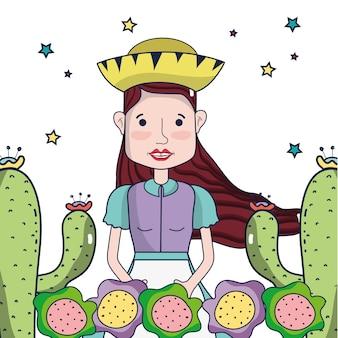 Belle femme avec chapeau, cactus et fleurs colorées