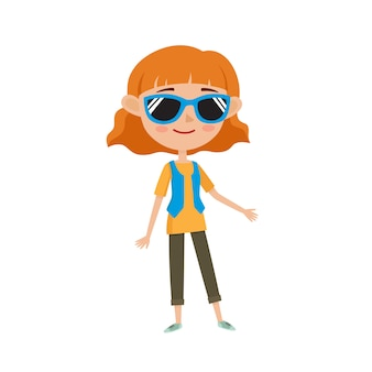 Belle femme hipster dans des vêtements élégants, illustrations de dessin animé isolées