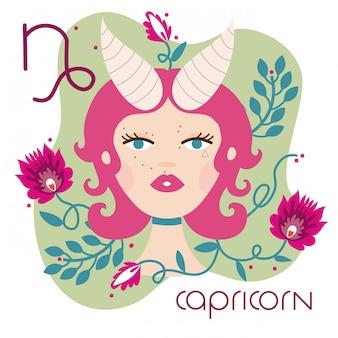 Belle femme avec illustration de signe du zodiaque capricorne