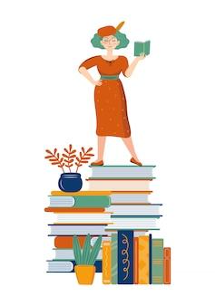 Belle femme lisant un livre