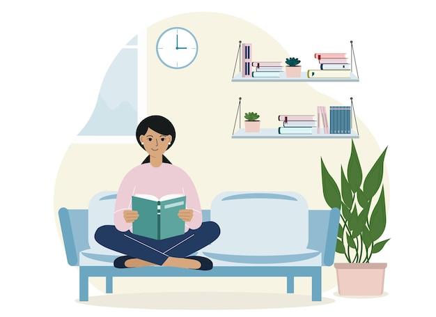 Belle femme lit un livre à la maison assise sur le canapé et les jambes croisées. concept de loisirs et d'éducation. illustration vectorielle