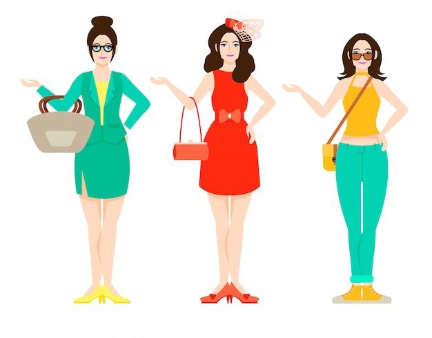 Belle femme, tenue, mode, concept
