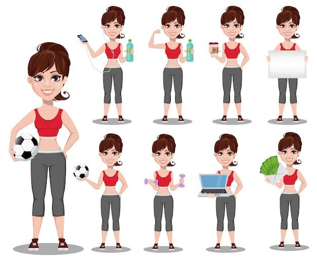 Belle femme en tenue de sport, jeu de caractères