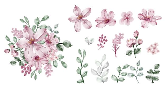 Belle feuille et fleur aquarelle clip-art