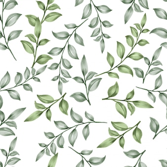 Belle feuille florale motifs aquarelle feuilles vertes