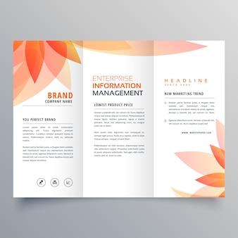 Belle feuille d'orange tri fold business brochure vector design