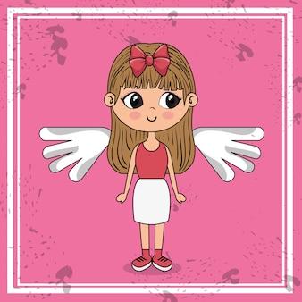Belle fille avec des ailes personnage kawaii
