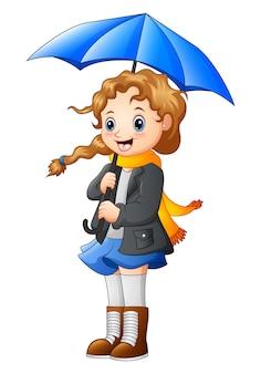Belle fille automne tenant le parapluie