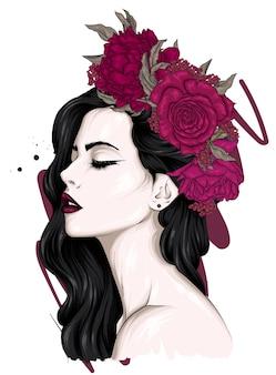 Belle fille aux cheveux longs dans une couronne de roses et de pivoines. mode et style, accessoires.